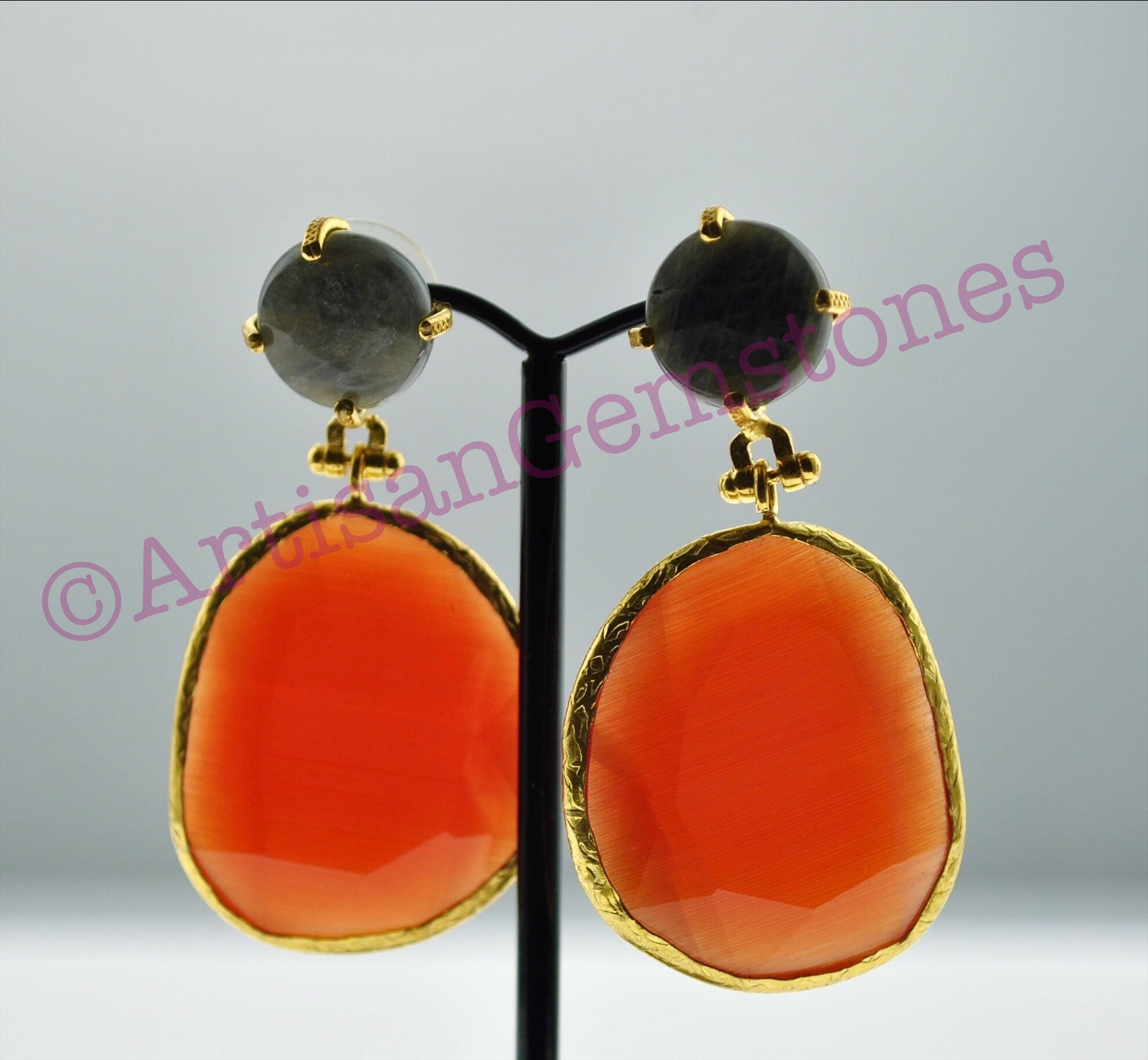 Charcoal Grey and Tangerine Orange Earrings