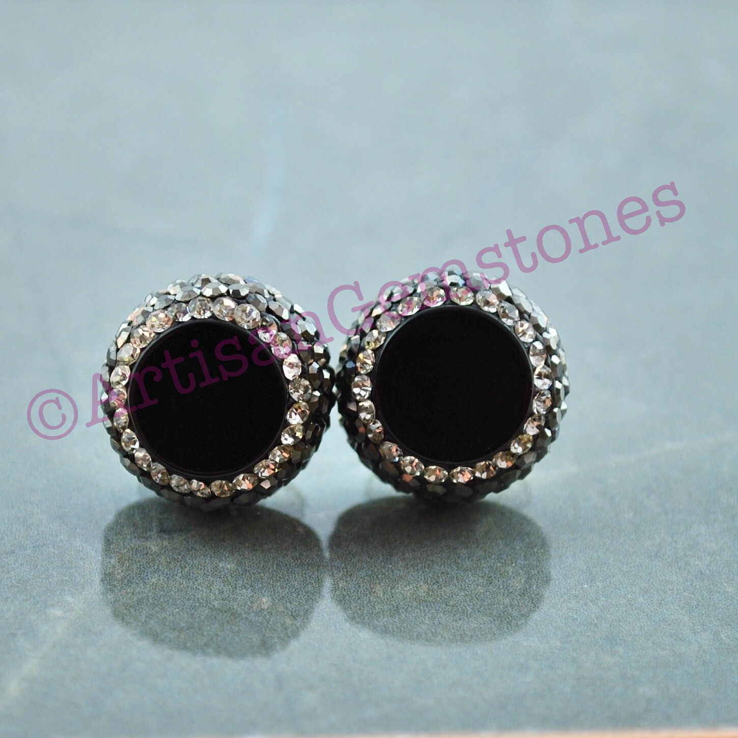 Black and Silver Round Studs