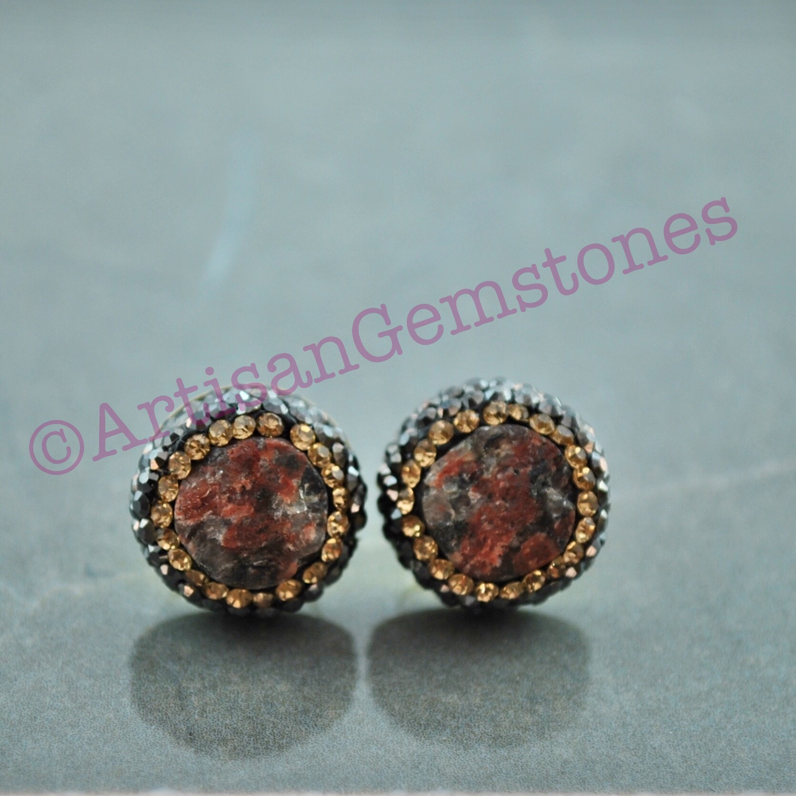 Multicoloured and Gold studs