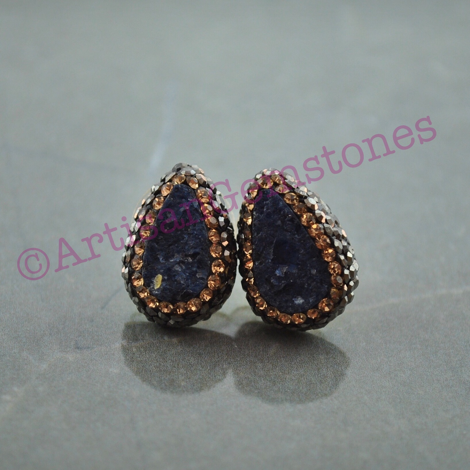 Teardrop Purple druzy Studs with Gold