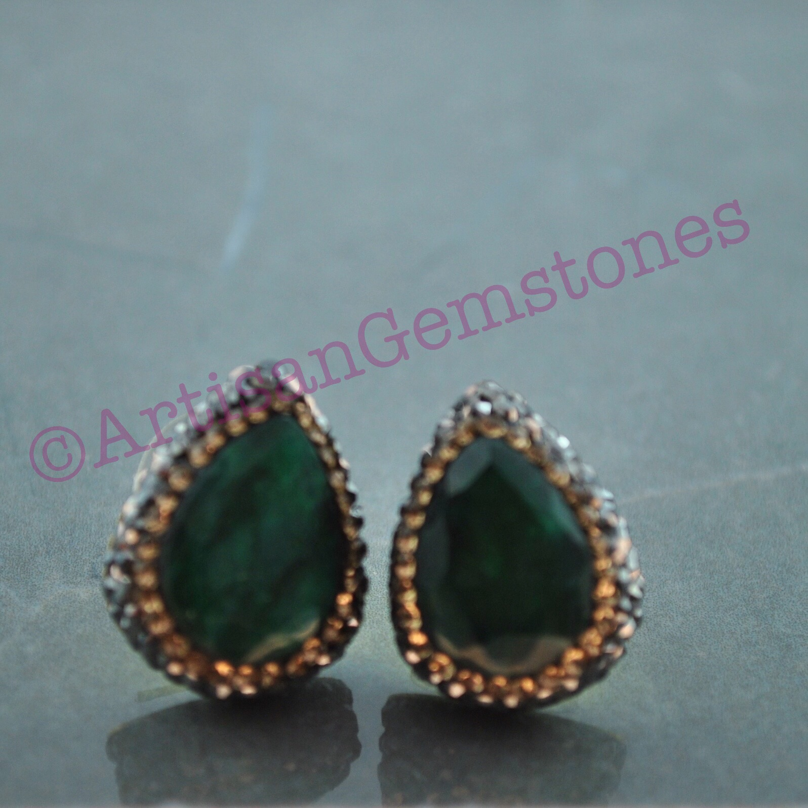 Teardrop Green and Gold Studs