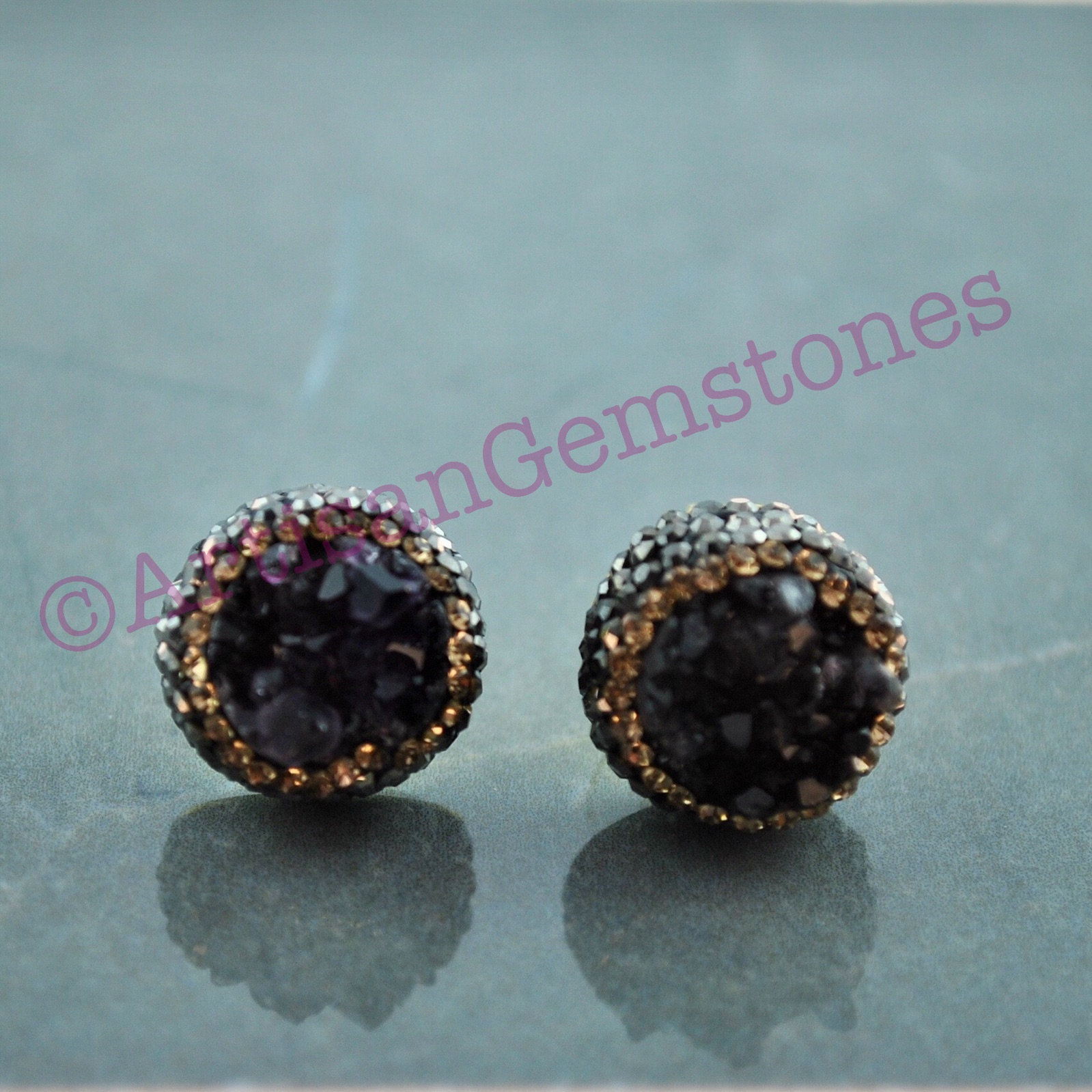 Purple and Gold Druzy Studs