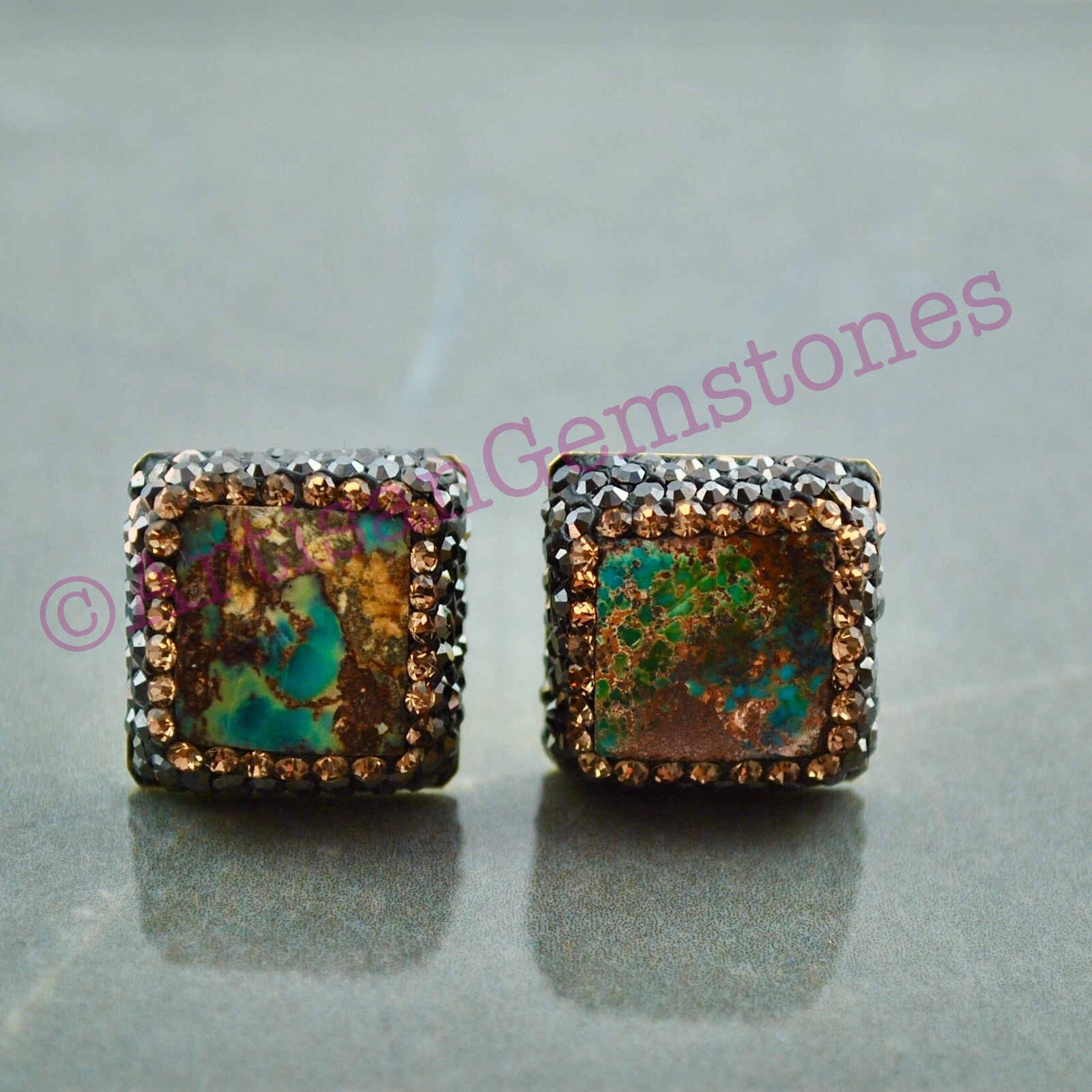 Square Turquoise and Gold Studs