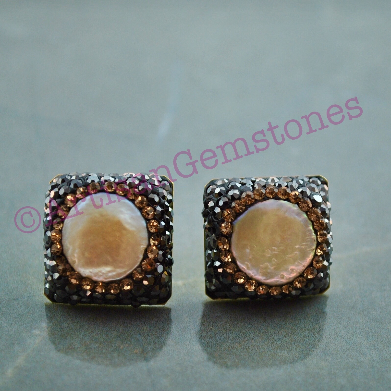 Square and Gold Pearl Studs