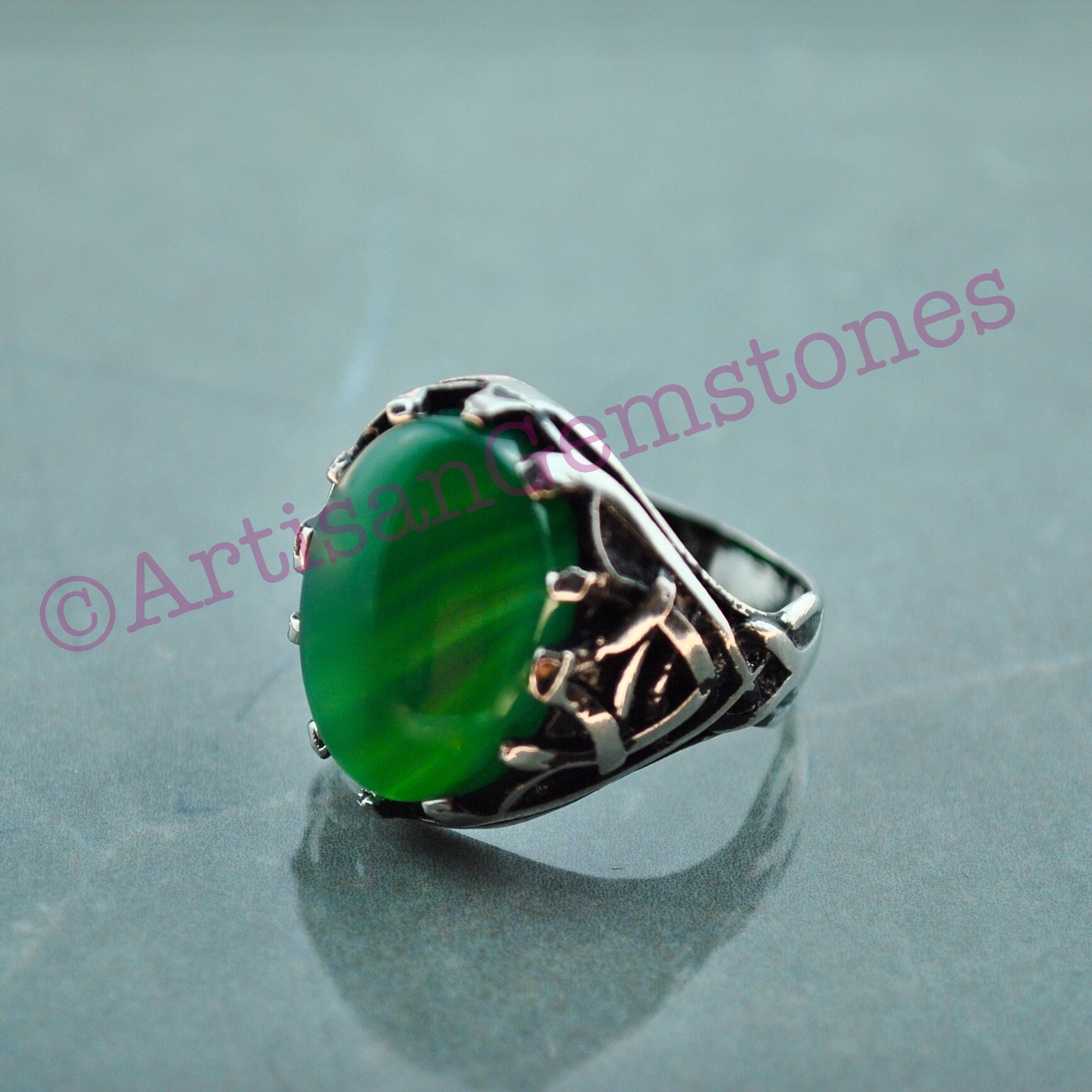 Green stone ring size 22 or U