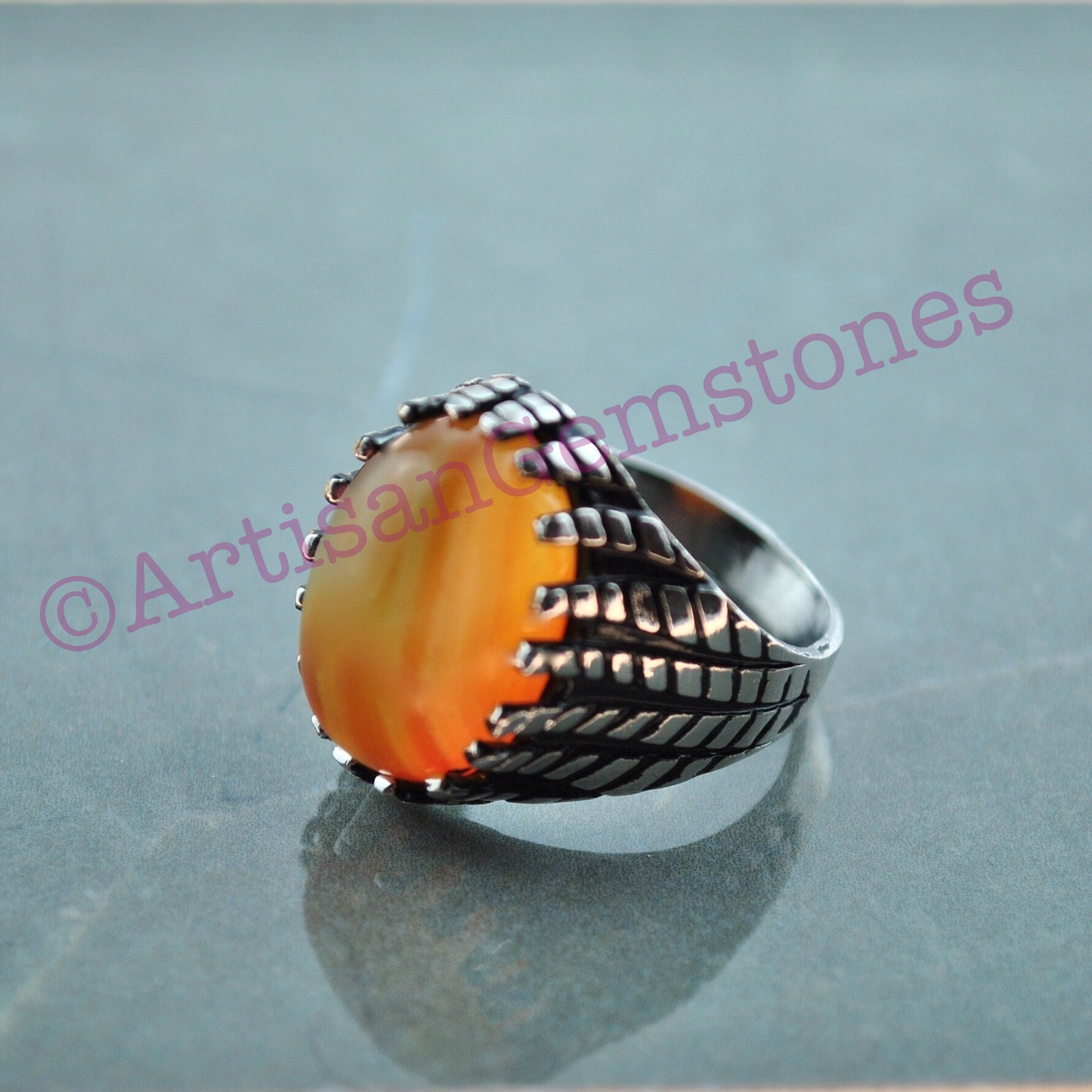 Mustard Stone Ring size 21 or T