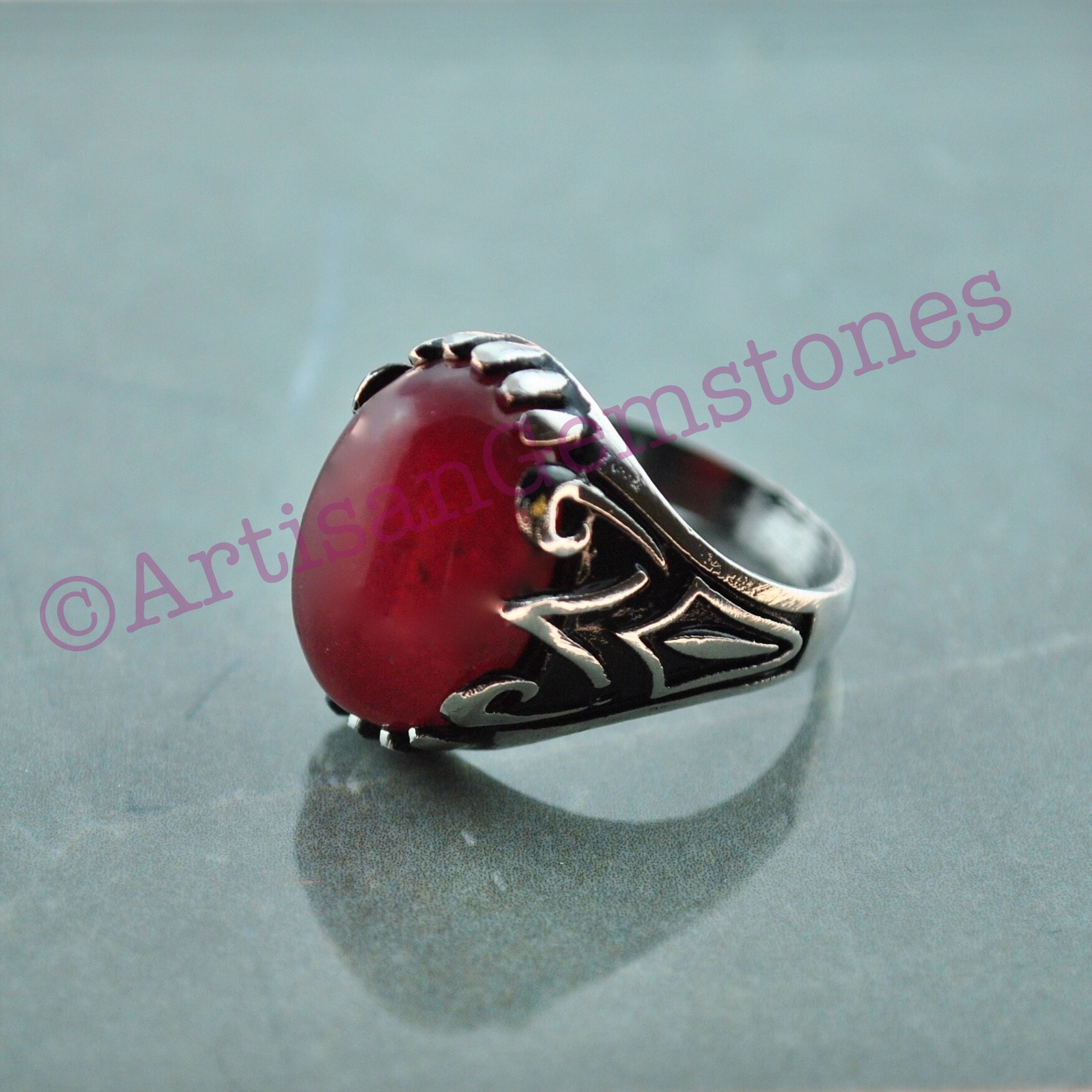 Maroon stone ring size 23 or U