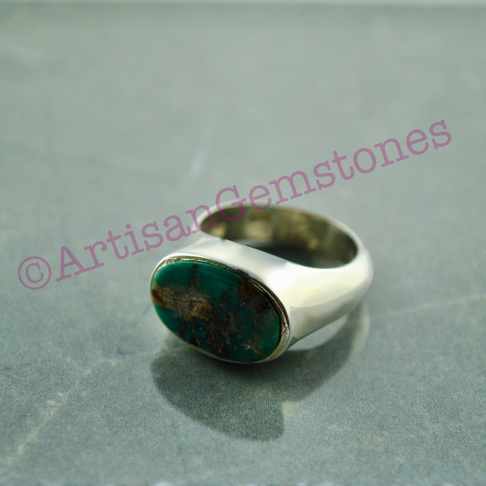 925 Silver Iranian Feroza/Turquoise ring size 15 or 0