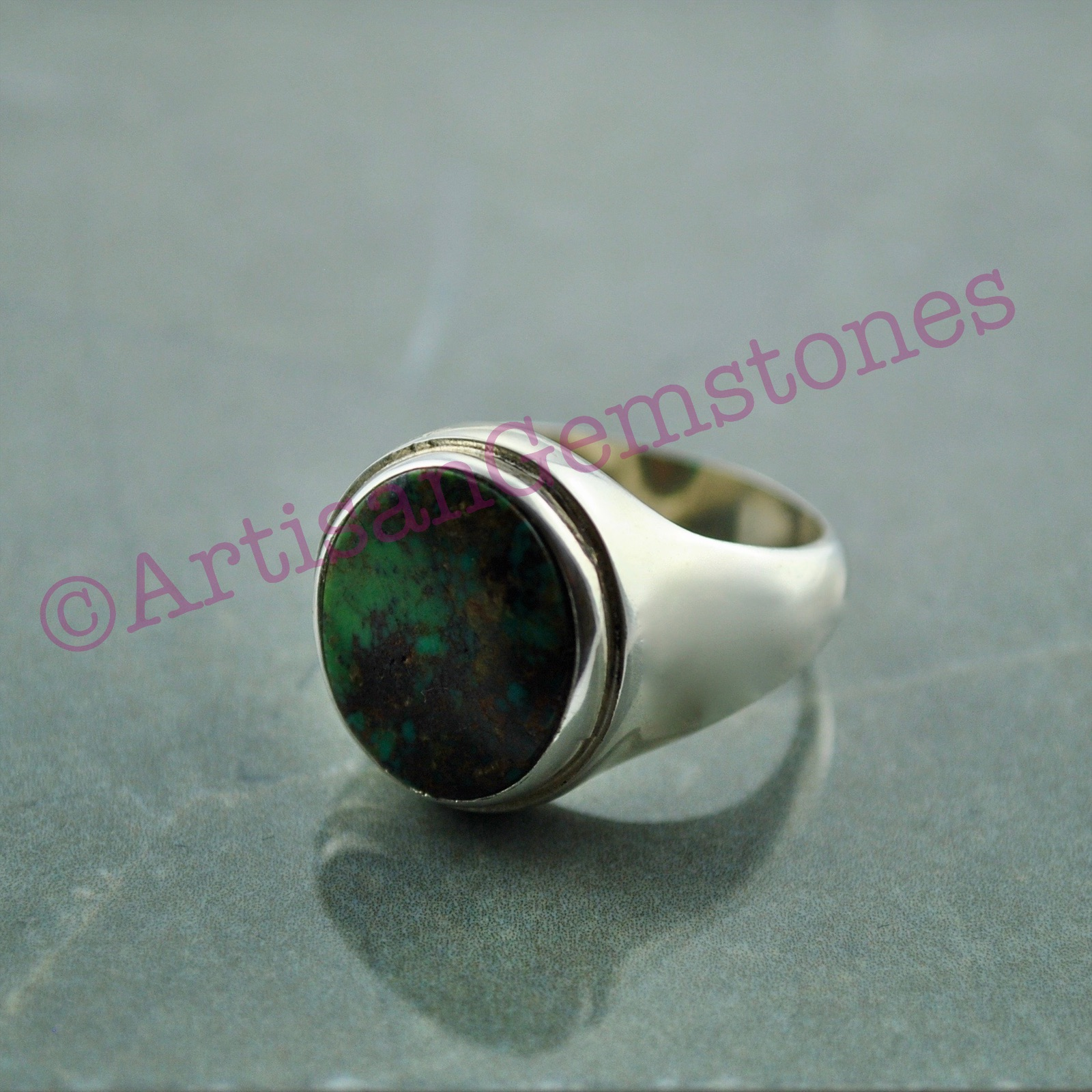 925 Silver Iranian Feroza/Turquoise Ring size 19 or S