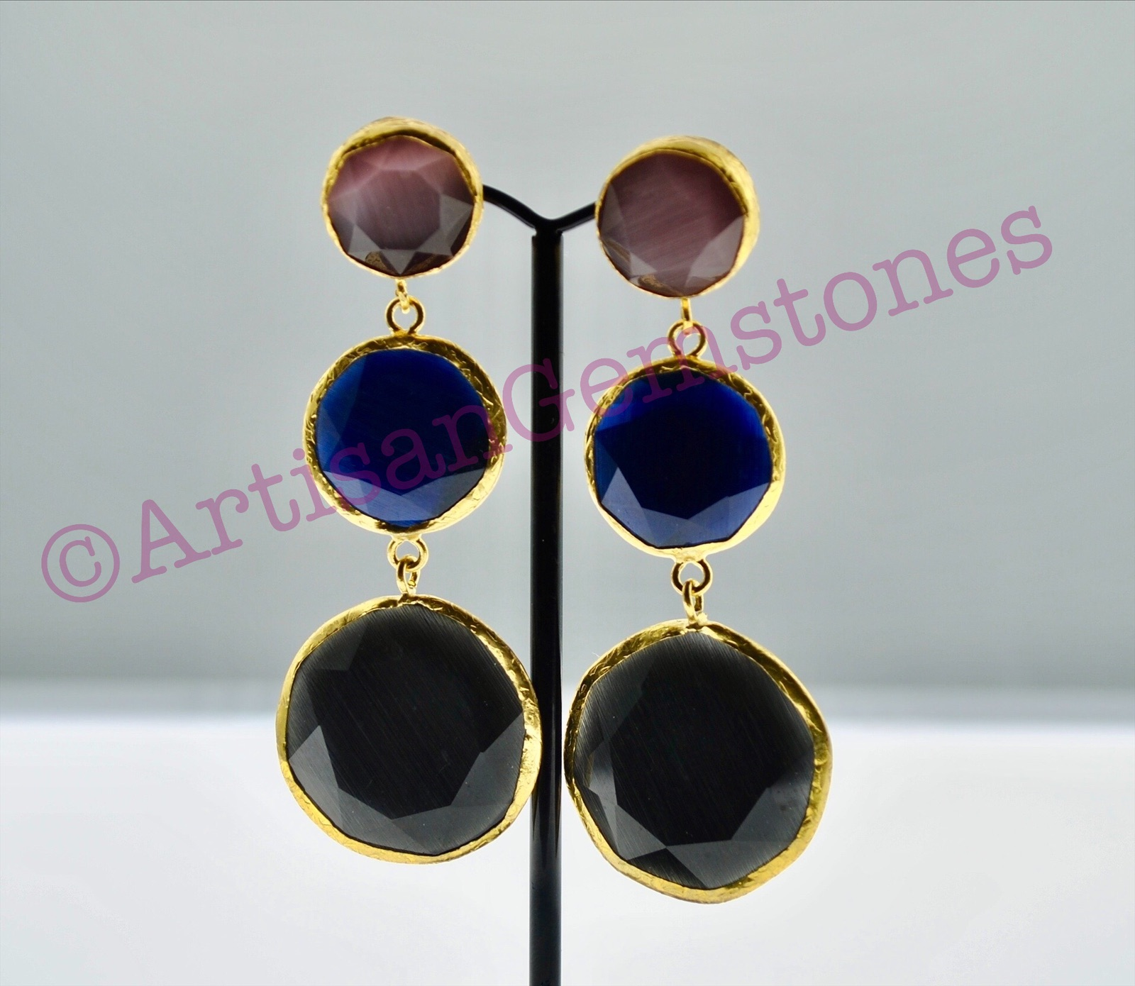 Pink, Blue and Black Earrings